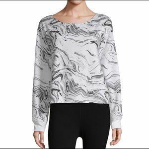 Marble White Black Activewear Sweatshirt Crewneck